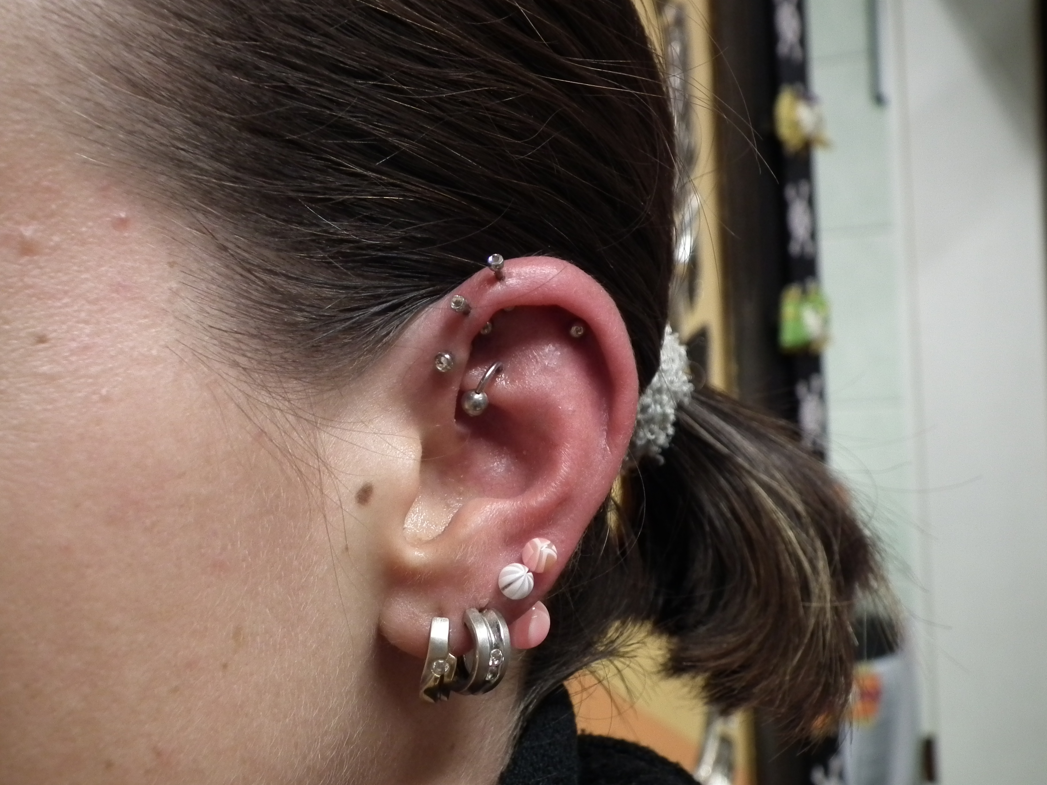 Piercing; Ohr; Tragus; Forward Helix