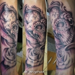 skull clock rose black grey tattoo